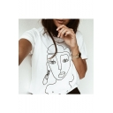 Abstract Character Painting Printed Round Neck Short Sleeve Tee