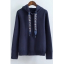 Jewelry Embellished Drawstring Long Sleeve Leisure Hoodie