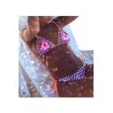 Floral Leopard Printed Halter Sleeveless Sexy Bikini