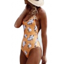 Halter Sleeveless Floral Printed Open Back One Piece Swimwear