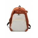 Color Block Animal Pattern Corduroy Cute Backpack Bag