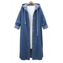 Button Down Long Sleeve Plain Tunic Denim Hooded Coat