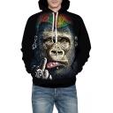 3D Orangutan Printed Leisure Loose Long Sleeve Hoodie