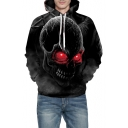 Digital Skull Printed Long Sleeve Fashionable Hoodie for Couple