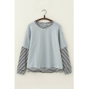 Contrast Striped Trim Fake Two Pieces Round Neck Long Sleeve Leisure Tee