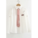 CAT Letter Paw Embroidered Tie Embellished Lapel Collar Long Sleeve Button Down Shirt