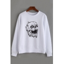 Skull Printed Round Neck Long Sleeve Pullover Sweatshirt