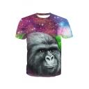 3D Gorilla Galaxy Printed Round Neck Short Sleeve Tee