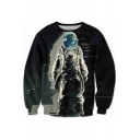 Digital Astronaut Printed Round Neck Long Sleeve Sweatshirt