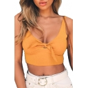 Sexy Knotted Front V Neck Sleeveless Plain Ribbed Crop Tank