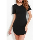 Slim Round Neck Short Sleeve Plain Mini Pencil Dress