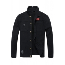 Badge Embellished Lapel Collar Long Sleeve Button Down Jacket