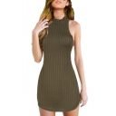 Ribbed High Neck Hollow Out Back Sleeveless Plain Mini Bodycon Dress