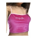 DADDY GIRL Letter Embroidered Mesh Insert Trim Spaghetti Straps Sleeveless Crop Cami