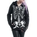 Punk Style Skeleton Printed Long Sleeve Zip Up Hoodie