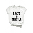 TACOS TEQUILA Letter Printed Round Neck Short Sleeve Loose Tee