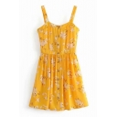 Button Down Straps Sleeveless Floral Printed Hollow Out Back Mini A-Line Dress