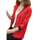 Bee Embroidered Contrast Striped V Neck Long Sleeve Cardigan