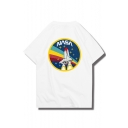 Rocket NASA Letter Printed Round Neck Short Sleeve Graphic Tee
