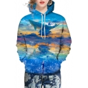 3D Fancy Flying Whale Printed Long Sleeve Unisex Hoodie