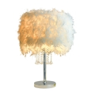 Girls Chandelier Table Lamp Feather Drum Table Lamp Crystal Light in Silver Finish