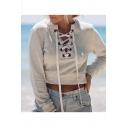 Lace Up Front V Neck Long Sleeve Plain Crop Sweatshirt