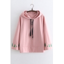 Japanese Leaf Embroidered Leisure Loose Long Sleeve Hoodie
