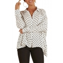 Polka Dot Printed Lapel Collar Long Sleeve Button Down Shirt