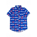 SOCIAL MAN Letter Pig Printed Short Sleeve Lapel Collar Button Down Shirt