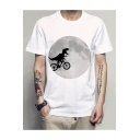 Bicycling Dinosaur Moon Printed Round Neck Short Sleeve Tee
