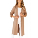 Notched Lapel Collar Plain Long Sleeve Open Front Tunic Coat
