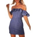 Ruffle Detail Off The Shoulder Short Sleeve Plain Denim Mini Pencil Dress