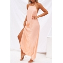 Open Back Sleeveless Halter Plain Maxi Split Side Maxi Cami Dress