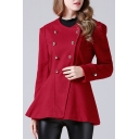 Collarless Long Sleeve Plain Double Breasted Trendy Coat