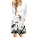 Leisure Slim Lotus Printed Round Neck Long Sleeve Midi A-Line Dress