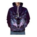 3D Oversize Wolf Printed Long Sleeve Leisure Unisex Hoodie