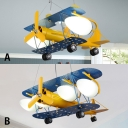 Yellow Biplane Chandelier Lamp Glass Shade 2/4 Lights Suspended Light for Boys Room Kindergarten