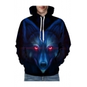 Digital Wolf Printed Oversize Long Sleeve Hoodie