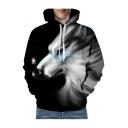 Wolf Snowflake Printed Long Sleeve Unisex Hoodie