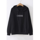 Relaxed Letter Graphic Embroidered Long Sleeve Hoodie