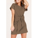 Round Neck Short Sleeve Tie Front Plain Mini T-Shirt Dress
