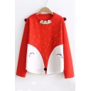 Fox Pattern Color Block Round Neck Long Sleeve Leisure Sweatshirt