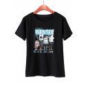 WANTED Letter Cartoon Printed Round Neck Short Sleeve Graphic Tee