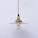 Historic Nickel Finish Open Bulb Ceiling Pendant with Shallow Round Shade 7.68