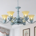 Bell 6 Lights Ceiling Chandelier Children Room Blue Finish Glass Hanging Light Fixture