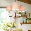 3 Lights Bird Design Chandelier Light Lodge Rustic Style Fabric Shade Hanging Lamp in Beige