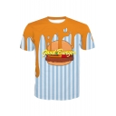 GOOD BURGER Letter Color Block Food Striped Printed Round Neck Short Sleeve Tee
