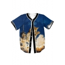Letter Cat Smoke Printed V Neck Button Down Short Sleeve Baseball Tee