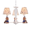 Resin Bear Chandelier Lighting Country Style 3/5/6 Lights Hanging Light in White Finish