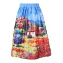 Cartoon Landscape Printed Elastic Waist Midi A-Line Skirt